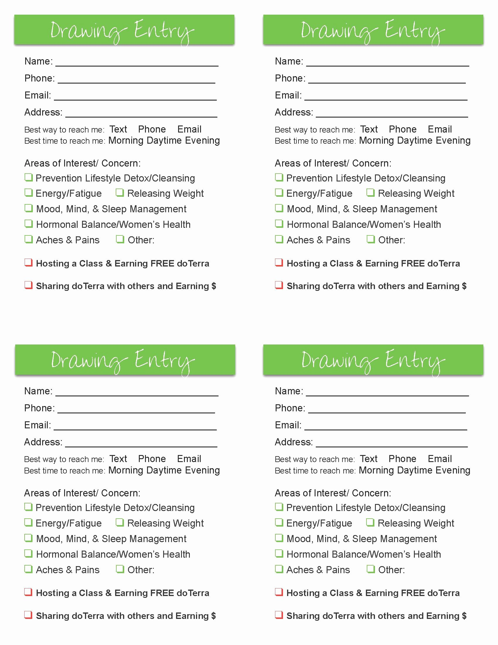 Draw Entry form Template Fresh Door Prize Drawing Template Door Prize…