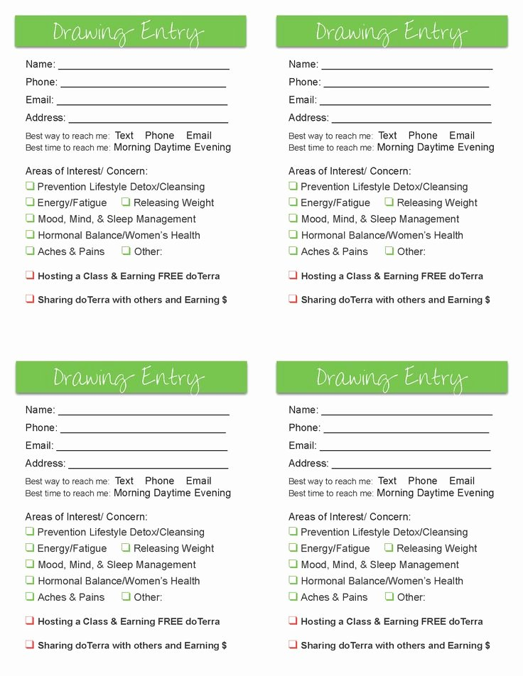 Draw Entry form Template Luxury Drawing Entry form Google Search