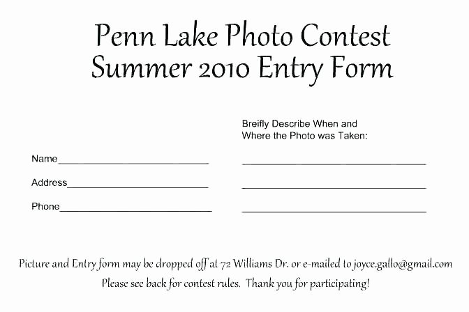 Drawing Entry form Template Beautiful Contest form