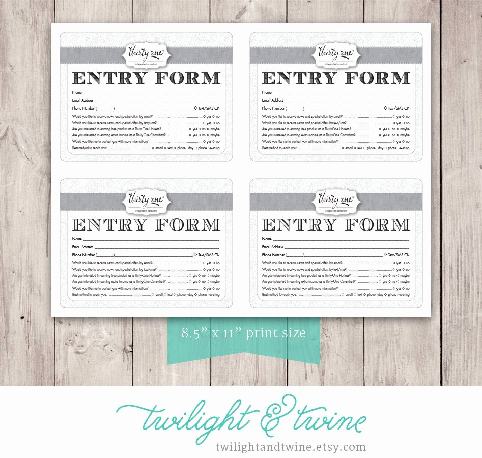 Drawing Entry form Template Best Of Thirty One Drawing Entry form Pdf Printable Template