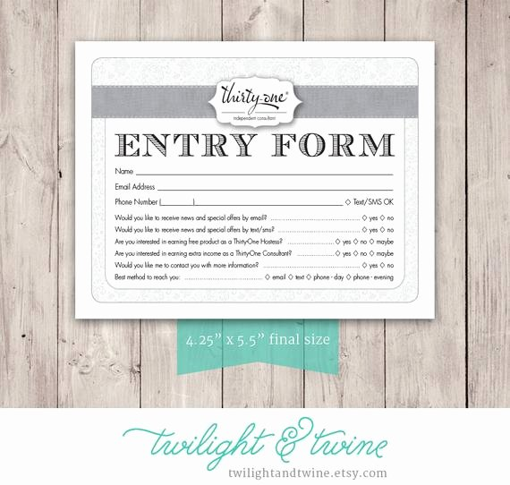 Drawing Entry form Template Unique Thirty One Drawing Entry form Pdf Printable Template
