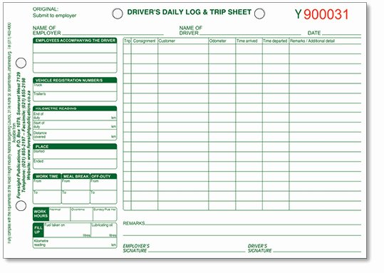 Driver Trip Sheet Elegant Truck Driver S Daily Log and Vehicle Check