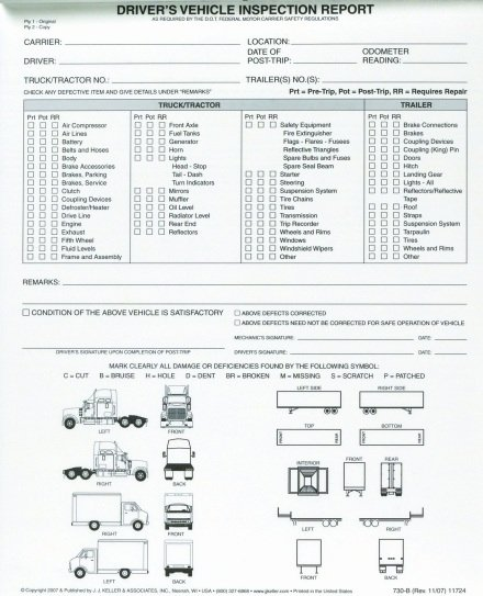Driver Trip Sheet Fresh Driver Vehicle Inspection Reports Not Needed Defect