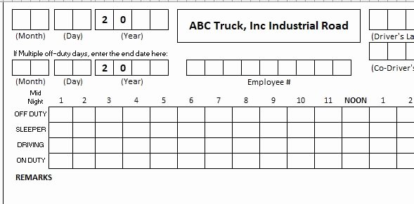 Drivers Log Book Template Awesome Daily Truck Driver Log Book Template Excel