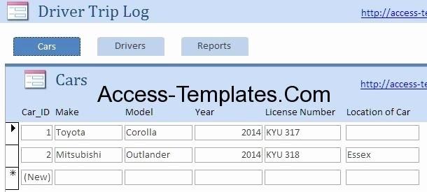 Drivers Log Book Template Elegant Drivers Log Book Template and Sample for Microsoft Access