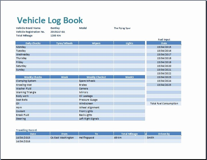 Drivers Log Book Template Free Awesome Ms Excel Vehicle Log Book Template