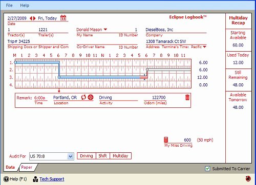 Drivers Log Book Template Free New Truck Driver Daily Elog software Program Eclipse Logbook
