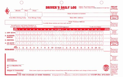 Drivers Log Book Template Luxury Loose Leaf Deluxe Duplicate Driver S Daily Log 2 Ply