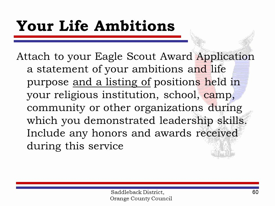 Eagle Scout Ambition Statement Example Inspirational Saddleback District orange County Council Boy Scouts Of
