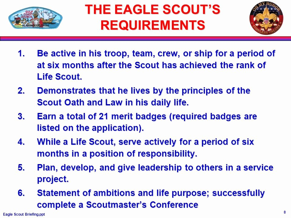 Eagle Scout Ambition Statement Example New Eagle Scout Information Requirements Ppt