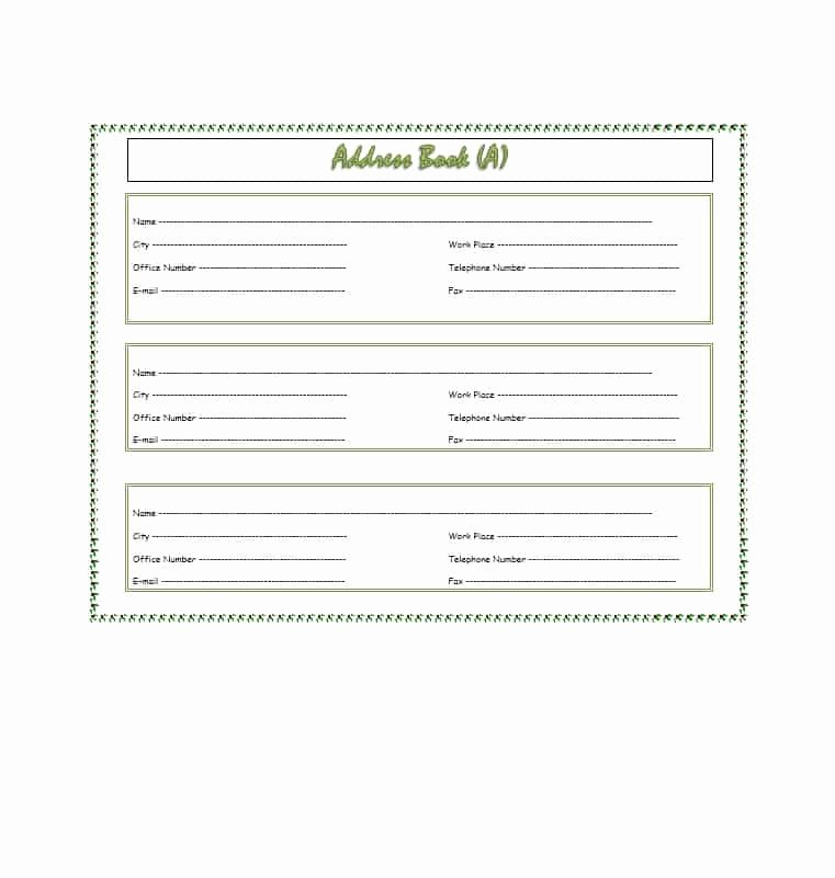 Editable Address Book Template Best Of 40 Printable & Editable Address Book Templates [ Free]