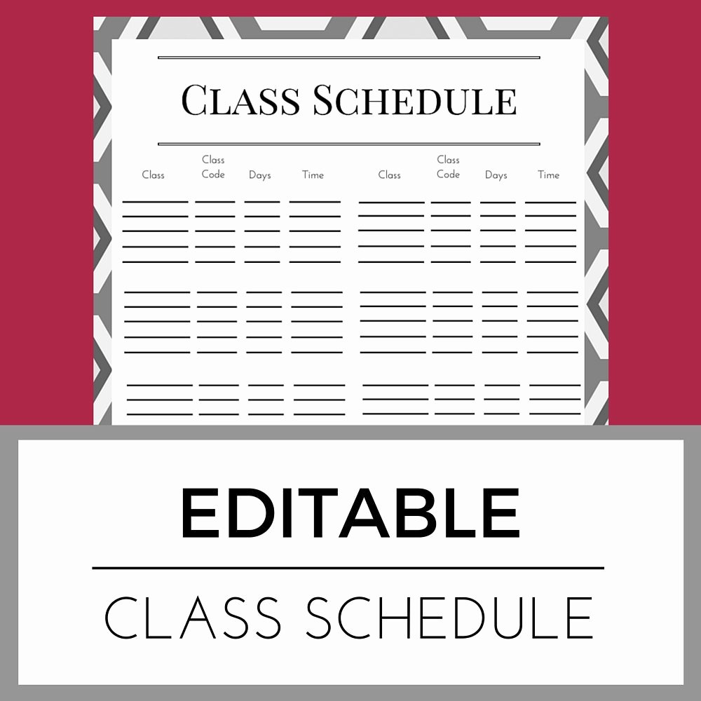 Editable Class List Awesome Editable Class Schedule organizer