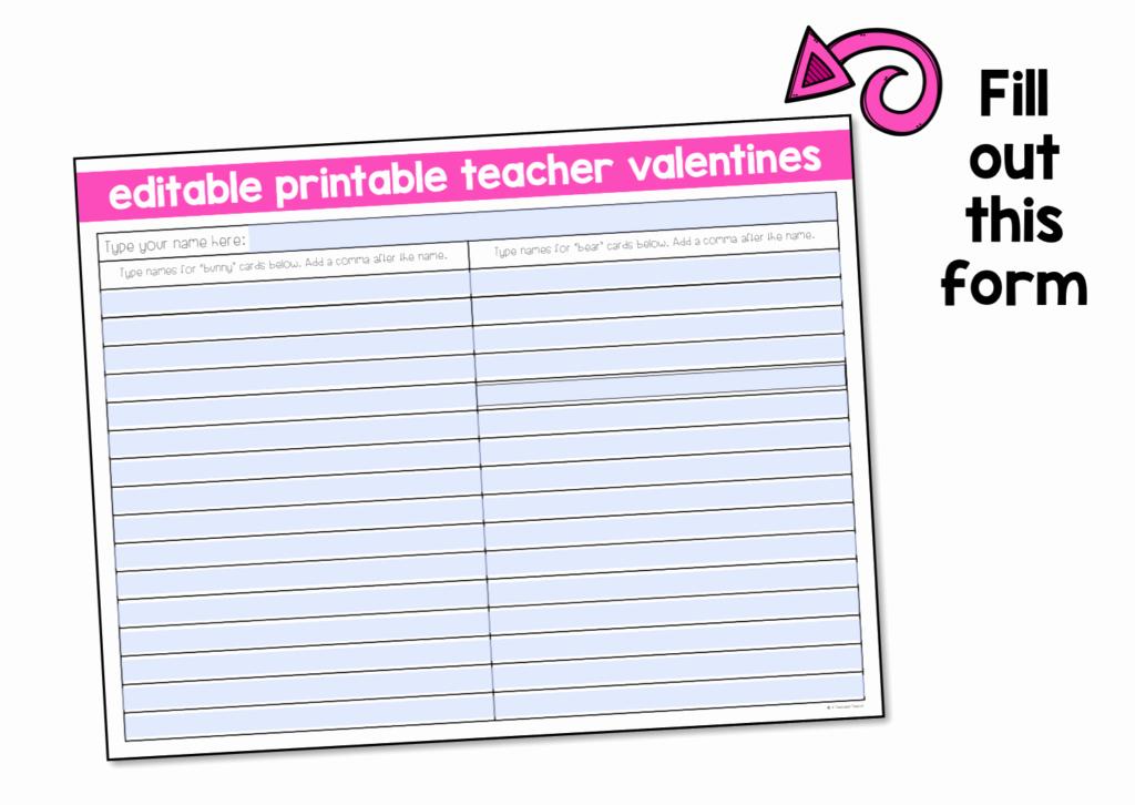 Editable Class List Inspirational Free Printable Teacher Valentine Cards A Teachable Teacher