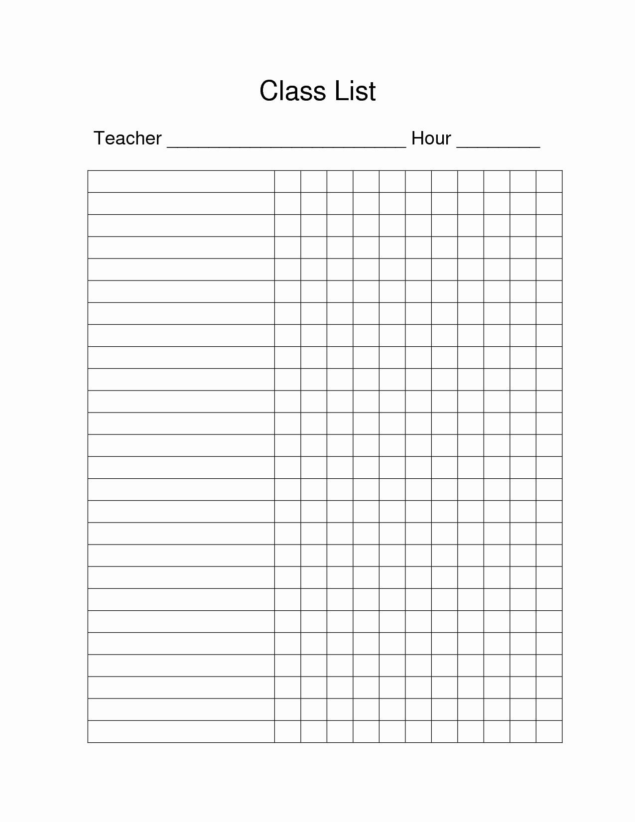 Editable Class List Lovely Free Printable Class List Template for Teachers Blank