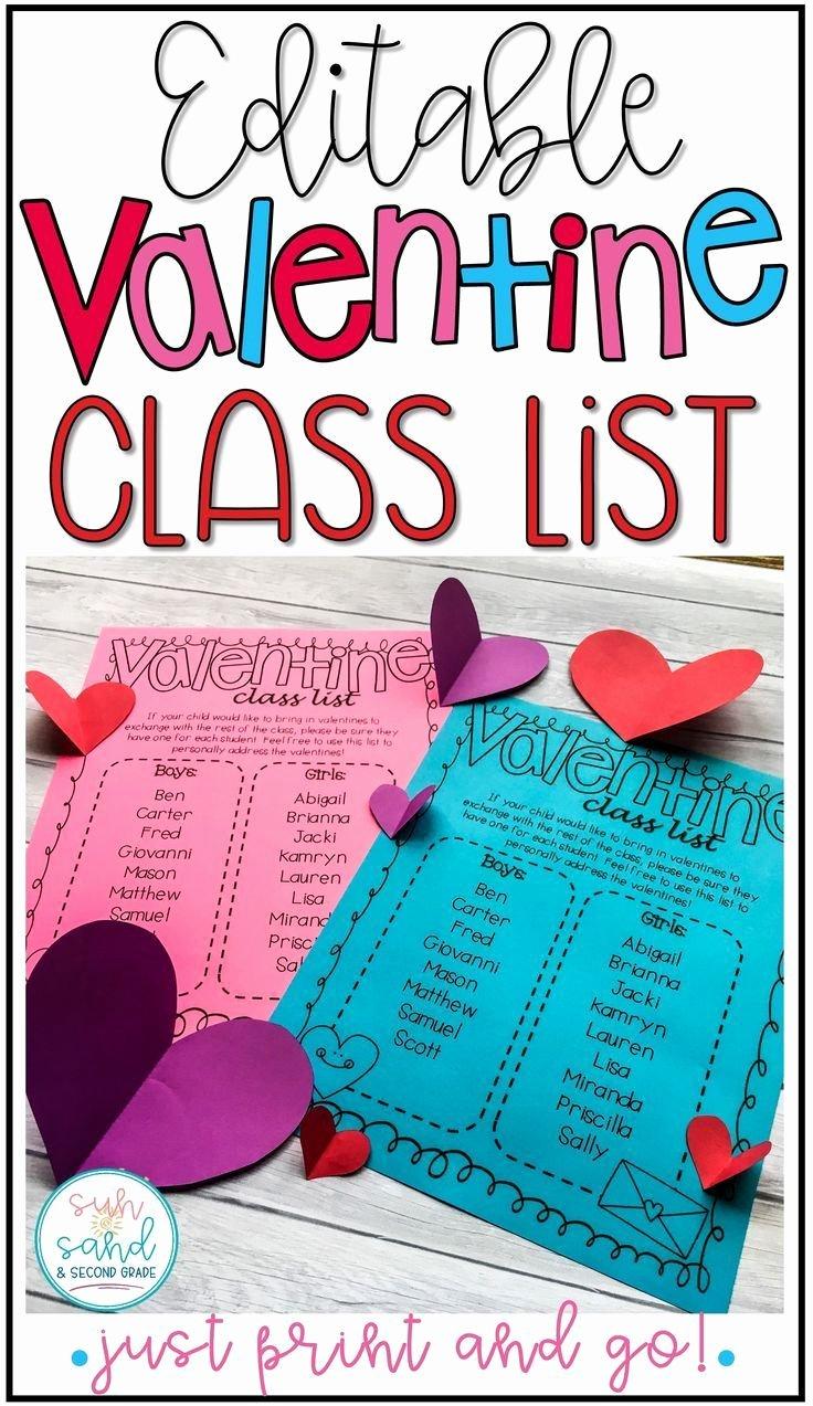 Editable Class List Lovely Valentines Day Class List Editable