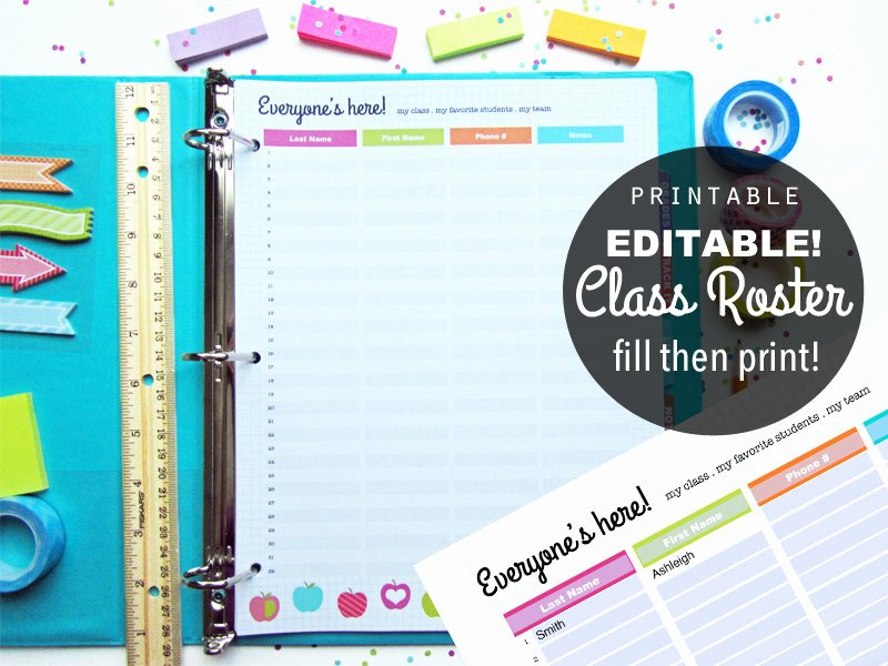 Editable Class List Luxury Editable Class Roster Printable Planner Page Instant Download