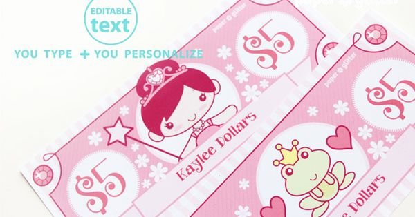 Editable Play Money Template Beautiful Printable Princess Play Money Type In Your Own Text