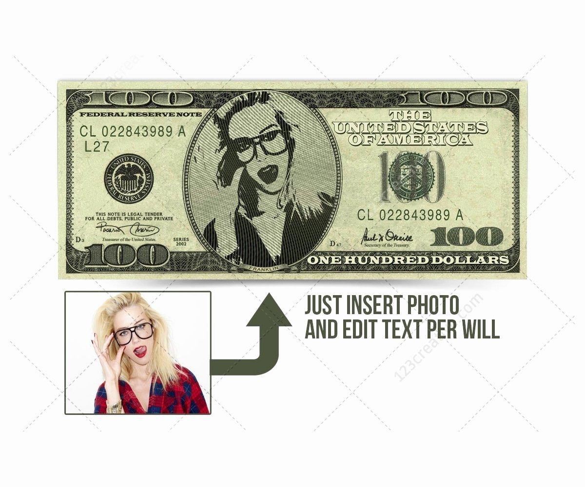 Editable Play Money Template Luxury Dollar Bill Mockup Template Psd with Editable Face Photo