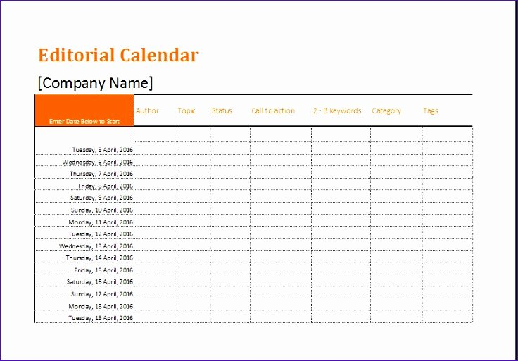 Editorial Calendar Template Google Docs Fresh 8 Editorial Calendar Template Exceltemplates