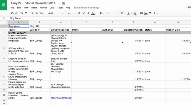 Editorial Calendar Template Google Docs New 5 tools for Speeding Up Your Graphy Blog Workflow