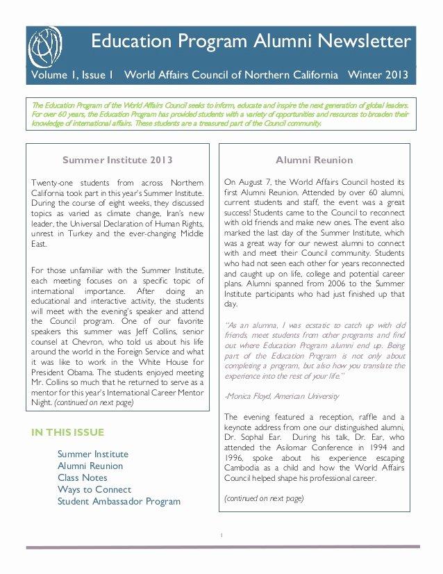 Education World Newsletter Beautiful World Affairs Council Education Program Alumni Newsletter