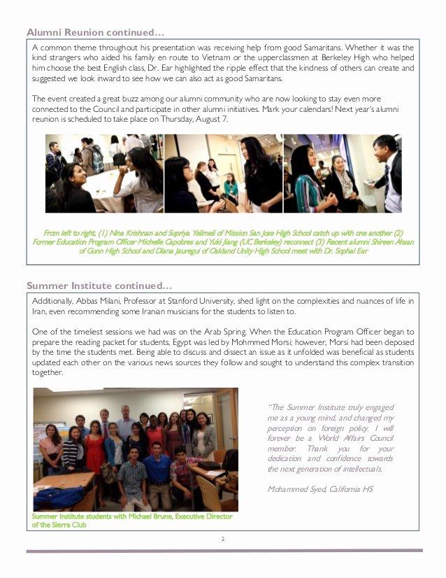 Education World Newsletter New World Affairs Council Education Program Alumni Newsletter