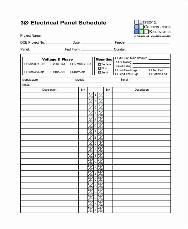 Electrical Panel Schedule Template Excel Fresh Electrical Panel Schedule Template software