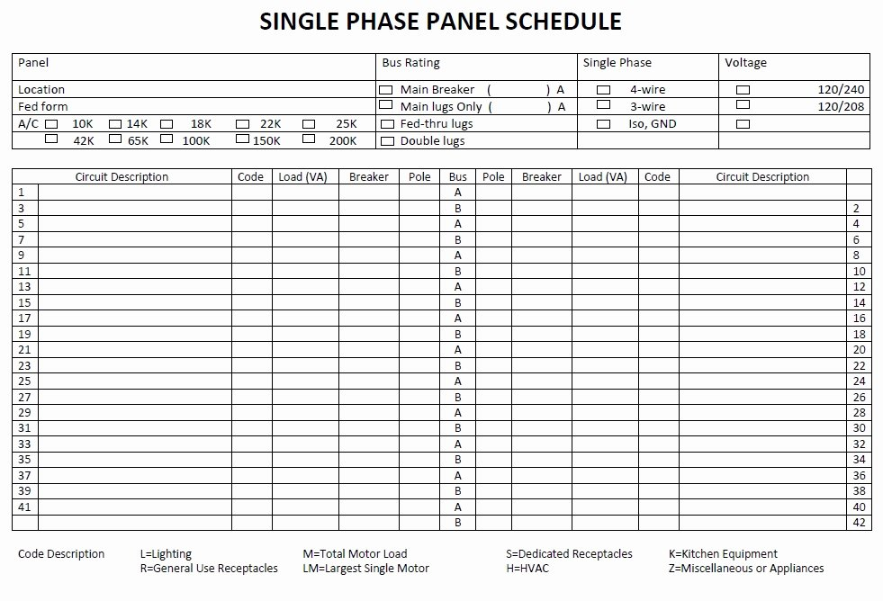 Electrical Panel Schedule Template Excel Unique Panel Schedule Template 5 Free Templates Schedule