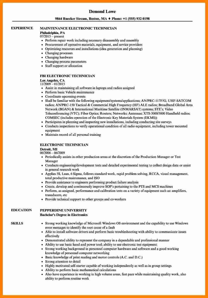 Electronics Technician Resume Sample Elegant 8 Electronics Technician Resume