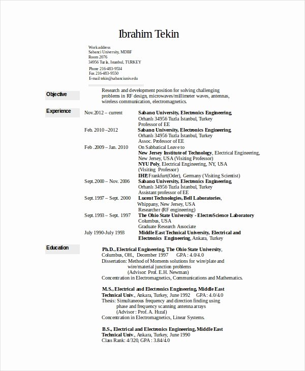 Electronics Technician Resume Sample Elegant Electronics Resume Template 8 Free Word Pdf Document