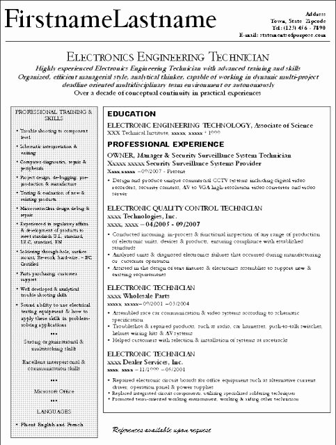 Electronics Technician Resume Sample Fresh Creative Writing Descriptions Of War Get Professional