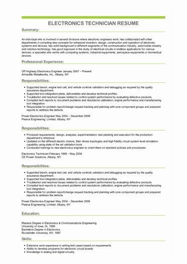 Electronics Technician Resume Sample Fresh Sample Electronics Technician Resume