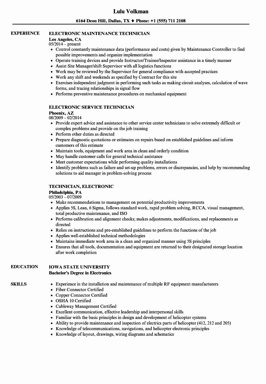 Electronics Technician Resume Sample Fresh Technician Electronic Resume Samples