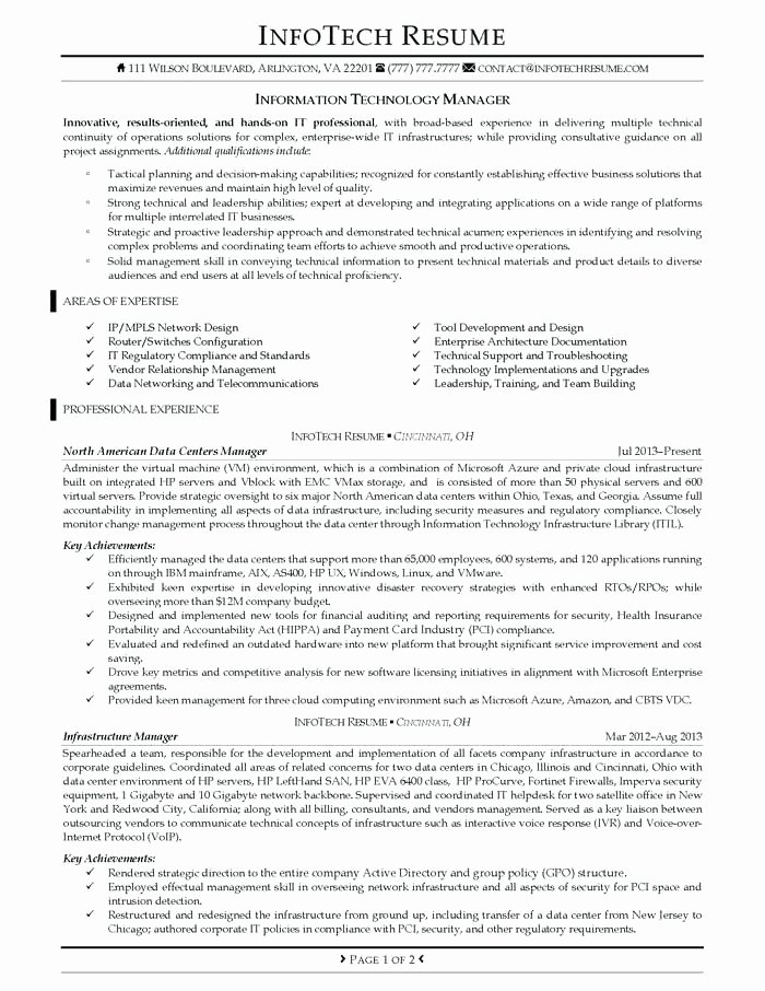 Electronics Technician Resume Sample Inspirational Information Technology Manager Resume Examples It Sample