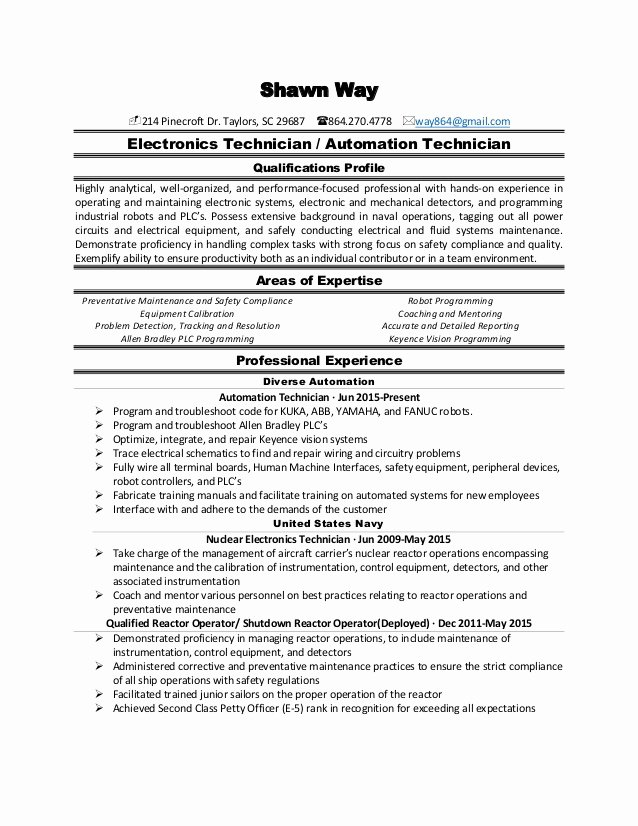 Electronics Technician Resume Sample Luxury Electrical Resume 2