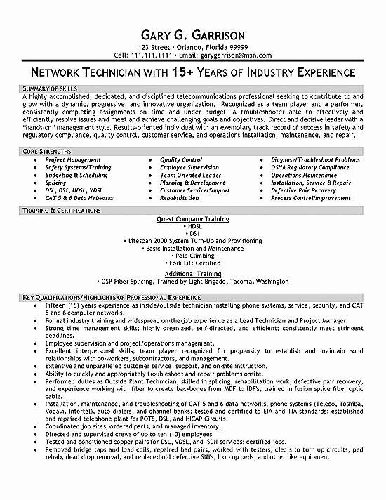 Electronics Technician Resume Sample Luxury Tele Technician Resume Example