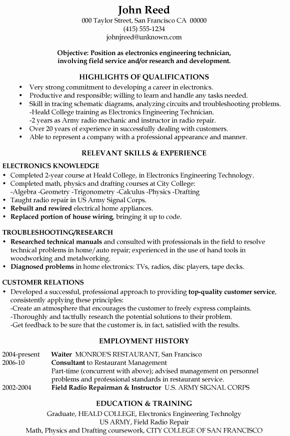 Electronics Technician Resume Sample New Resume Sample Electronics Engineering Technician