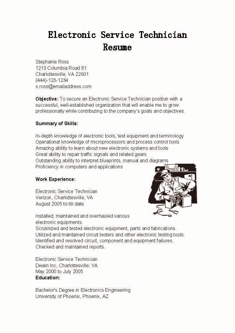 Electronics Technician Resume Sample Unique Resume Samples Electronic Service Technician Resume Sample
