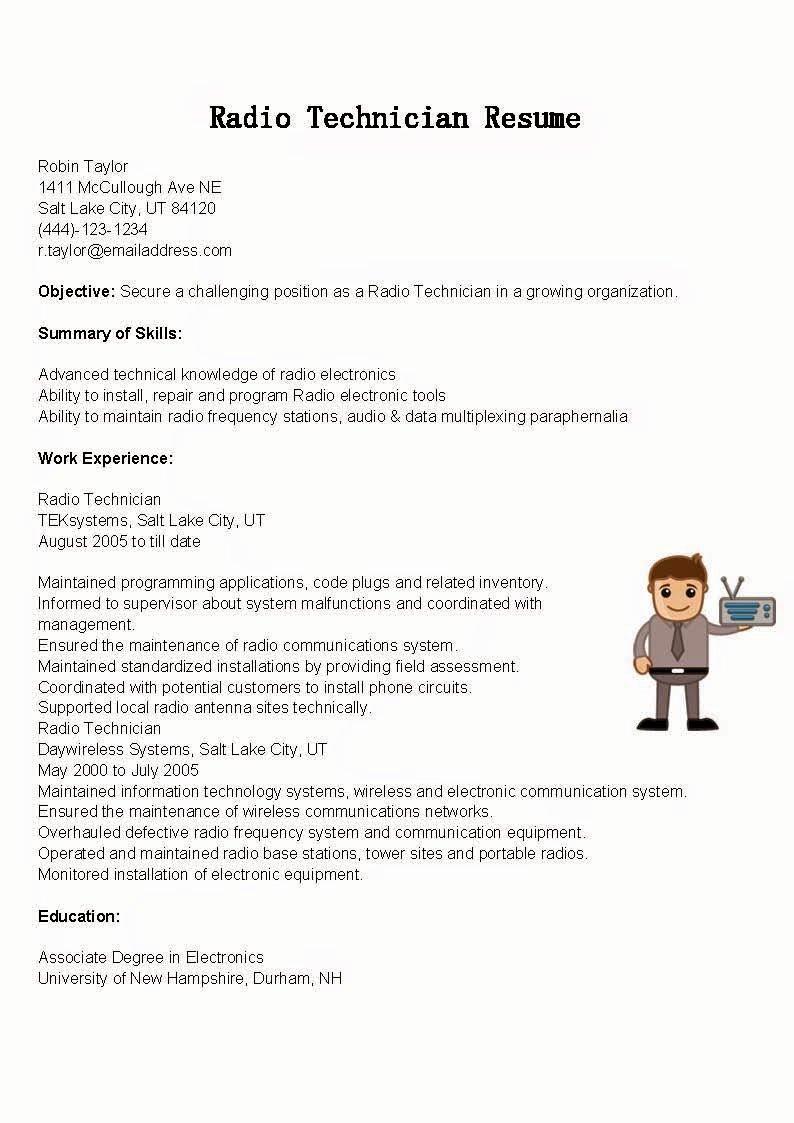 Electronics Technician Resume Sample Unique Resume Samples Radio Technician Resume Sample