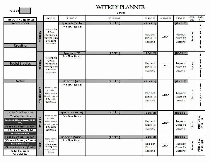 Elementary School Lesson Plan Fresh Check Out My Weekly Lesson Planning Page Templates for