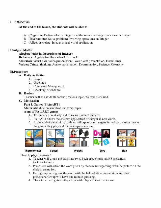 Elementary School Lesson Plan New Math Lesson Plan Sample for Demo Teaching