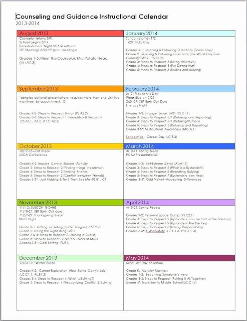 Elementary School Master Schedule Template Best Of Guidance Calendar School Counseling