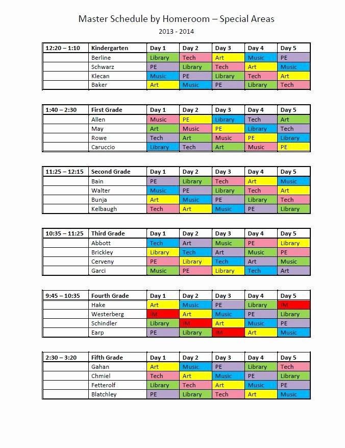 Elementary School Master Schedule Template Best Of Master Specials Schedule Schedules