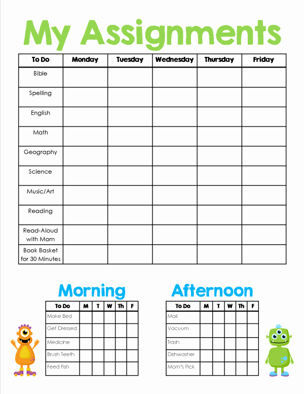 Elementary School Master Schedule Template Inspirational Homeschool assignment & Chores Sheet Free Printable