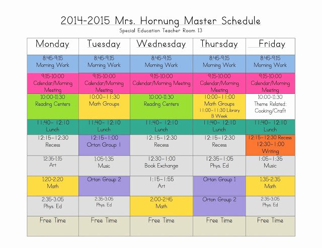 Elementary School Master Schedule Template Luxury 4 Ways to Rock Out A Self Contained Schedule the Eager