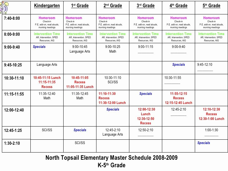 Elementary School Master Schedule Template Luxury north topsail Elementary School Improvement Plan 2008 2009