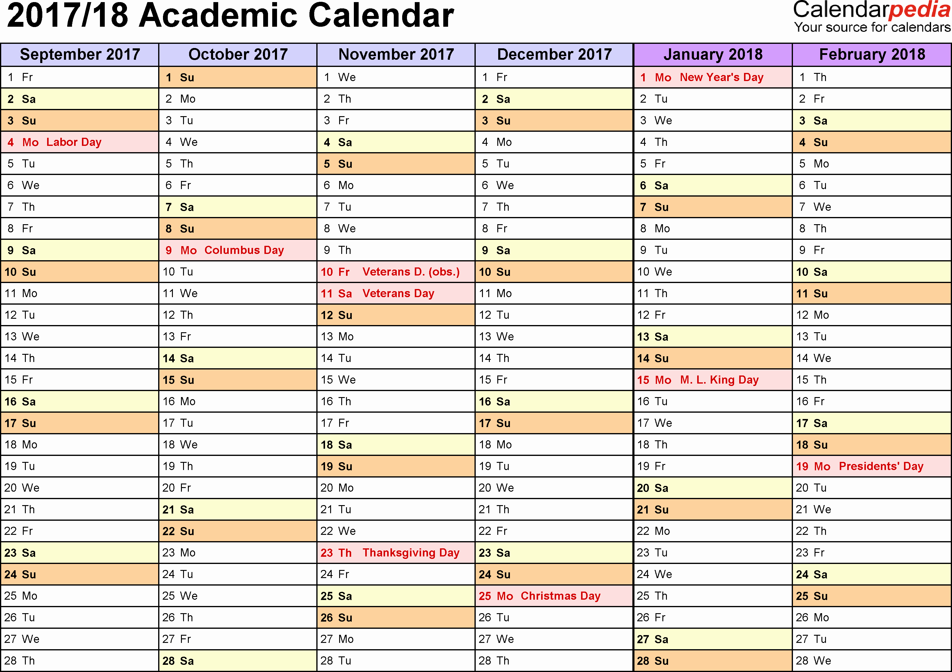 Elementary School Master Schedule Template New Academic Calendars 2017 2018 Free Printable Word Templates