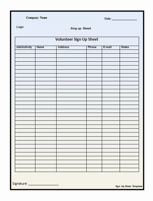 Email Sign Up Sheet Template Microsoft Word Luxury 40 Sign Up Sheet Sign In Sheet Templates Word & Excel