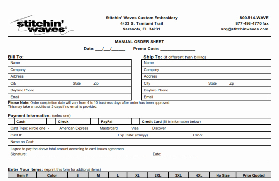 Embroidery order form Template Fresh Databasesoftware Blog