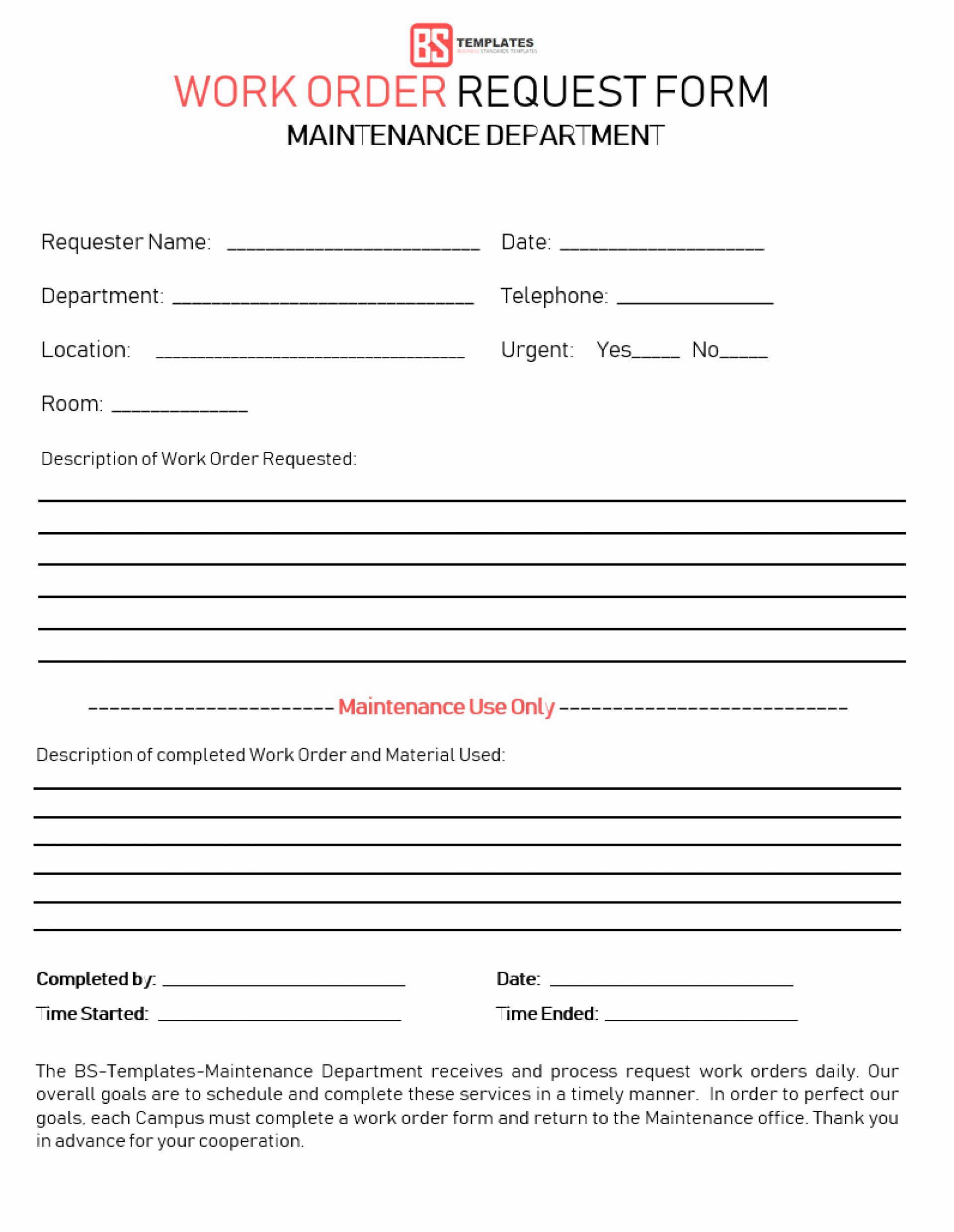 Embroidery order form Template Lovely Work order forms Request form Pdf with Blank Templates